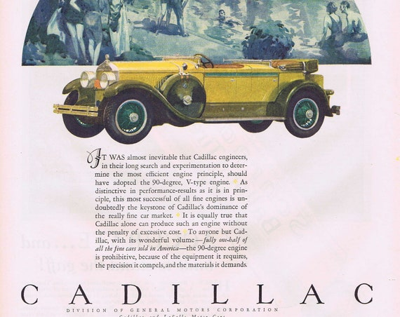 Old Cadillac Convertible in 1927 Color Vintage Advertisement