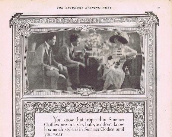 1919 Keep-Kool Summer Clothes or Remington Typewriters for Business Original Vintage Advertisement