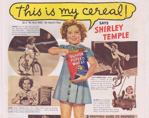 "1937 Shirley Temple for Quaker Puffed Wheat Original Vintage Ad with Star of ""Wee Willie Winkie"" Free Shipping"