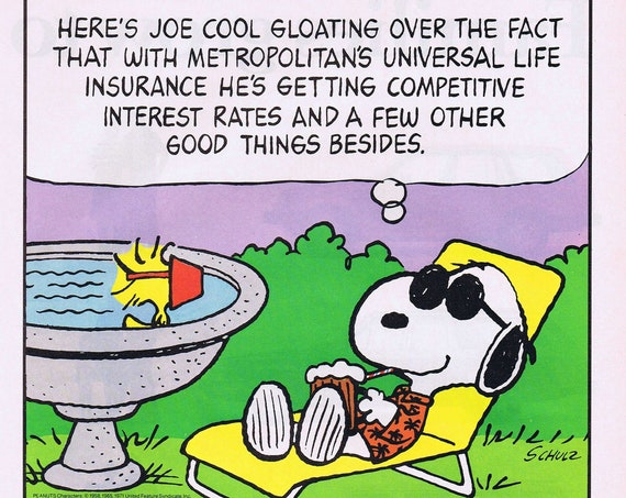 Joe Cool Snoopy with Woodstock Relaxing in the Sun and Charles Schulz Collectible Art in Met Life 1985 Original Ad