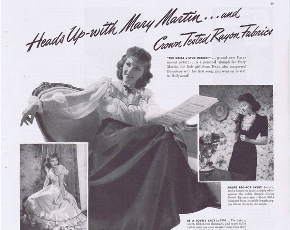 1940 Hollywood Star Mary Martin and Crown Tested Rayon Fabrics Original Vintage Advertisement
