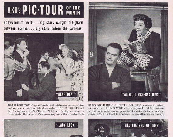 RKO Movies of the Month 1946 Ad with John Wayne and Claudette Colbert and More