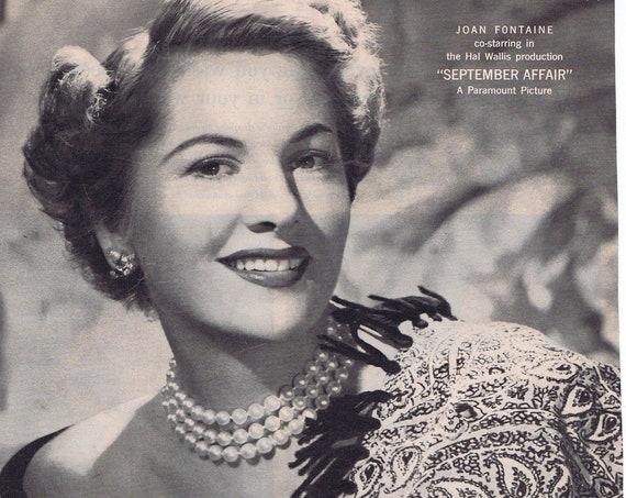 1950 Joan Fontaine and Lux Toilet Soap Original Vintage Advertisement