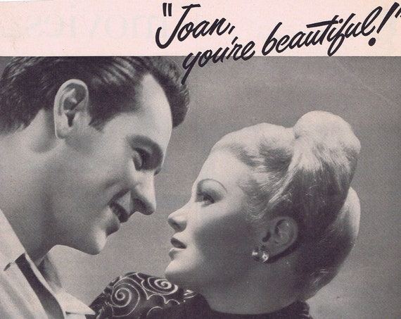 Beautiful Joan Caufield and William Holden Lux Toilet Soap Screen Stars 1949 Original Vintage Advertisement