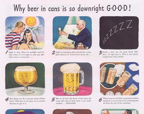1941 Keglined Canned Beer is Good or Texaco Havoline Motor Oil and Smoking in Car Original Vintage Advertisement