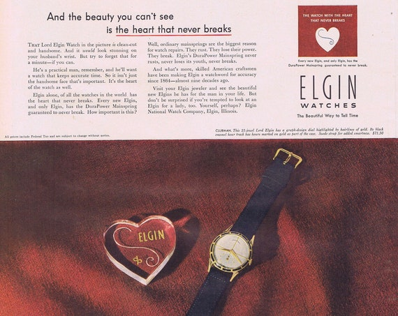 1951 Elgin Watches Beautiful Way to Tell Time Original Vintage Advertisement