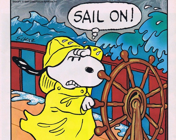 Snoopy at Sea Met Life Original 1987 Advertisement with Charles Schulz Art