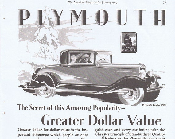 1929 Plymouth Coupe Amazing Popularity Automobile Original Vintage Advertisements
