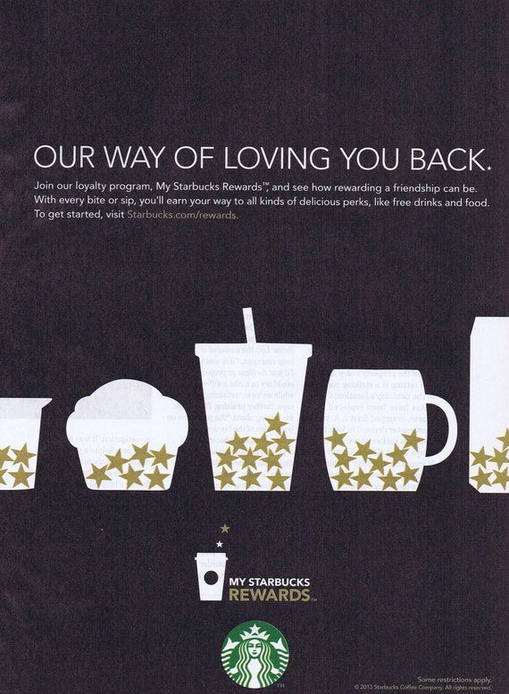 Starbucks Rewards 2013 Original Advertisement Free Shipping