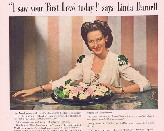Linda Darnell and 1847 Rogers Bros Silver First Love or Campbell's Chicken Noodle Soup Original Vintage 1941 Advertisement