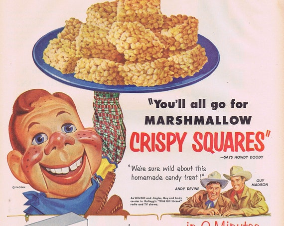 1953 Howdy Doody, Andy Devine and Guy Madison Kellogg's Rice Kripsies an Marshmallows Original Vintage Advertisement with Recipe