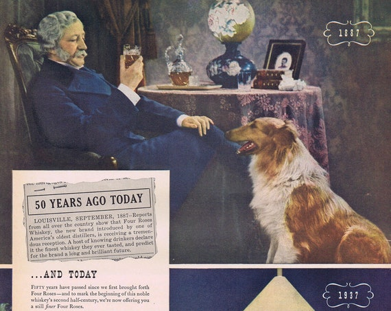 1937 Four Roses 50 Years with Man and Dog Neat Photos or James Clark and Camel Cigarettes Original Vintage Advertisement