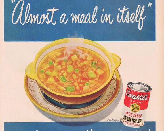 1951 Campbell's Vegetable Soup or Minute Rice and Serving Ideas Original Vintage Advertisement