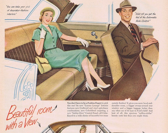 1951 Ford Victoria Coupe Automobile Original Vintage Advertisement with Nice Art of Car and Couple