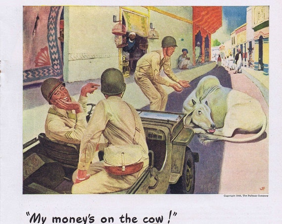1944 WWII Soldiers in Jeep Respect the Cow Pullman Trains Original Vintage Advertisement