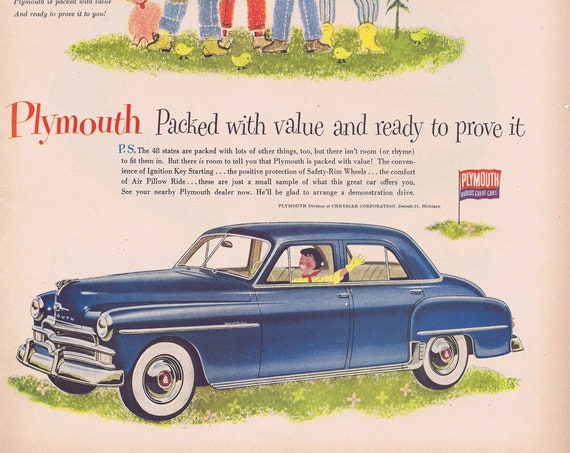 1950 Blue Plymouth Sedan or Swift Bacon for Breakfast Original Vintage Advertisements