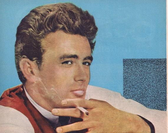 Classic James Dean 1955 Vintage Magazine Photo with Bonus Photo of Dean, Rock Hudson and Elizabeth Taylor