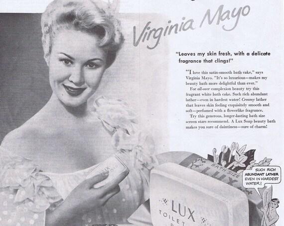 Beautiful Virginia Mayo Lux Toilet Soap 1950 Large Original Vintage Advertisement