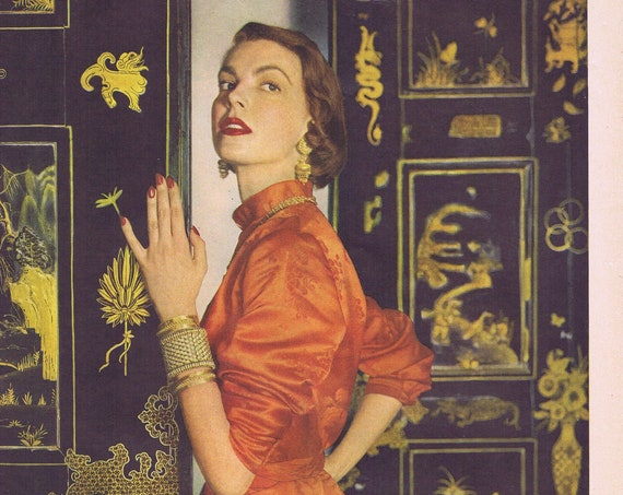1949 Chen Yu New Chinese Red Dress with Matching Nails and Lipstick Magazine Photo or Lucky Strike Cigarettes Original Vintage Advertisement