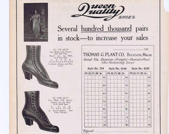 Old Queen Quality Woman' Shoes Ad with Shoe Chart