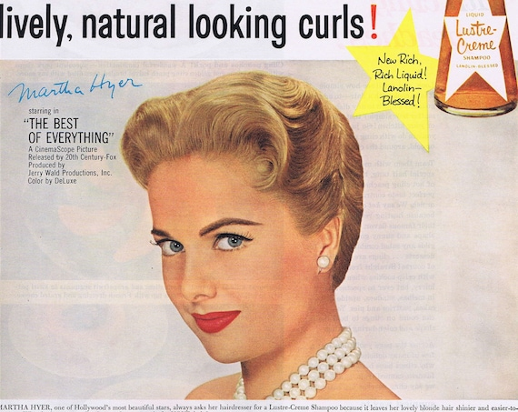 1959 Beautiful Martha Hyer Lustre-Crème Shampoo Starring in the Best of Everything Movie Original Vintage Advertisement