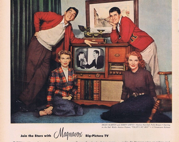 Dean Martin and Jerry Lewis 1951 Magnavox Television Marion Marshall and Polly Bergen of That's My Boy Film Original Vintage Advertisement