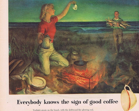 1951 Maxwell House Coffee Twilight Picnic at Beach Original Vintage Advertisement with Neat Art