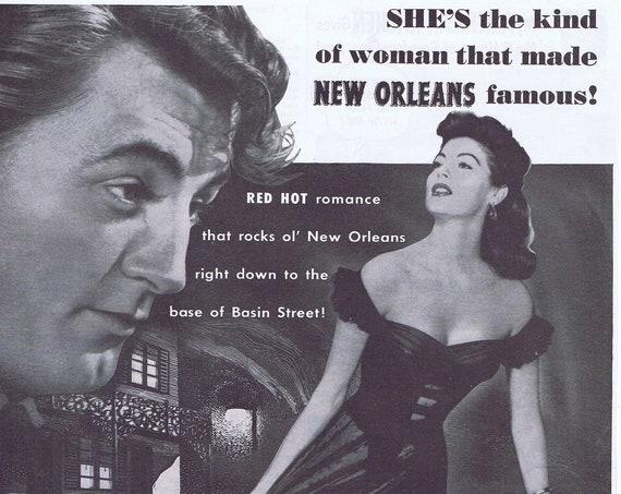 My Forbidden Past 1951 Original Vintage Large Movie Ad with Robert Mitchum and Ava Gardner