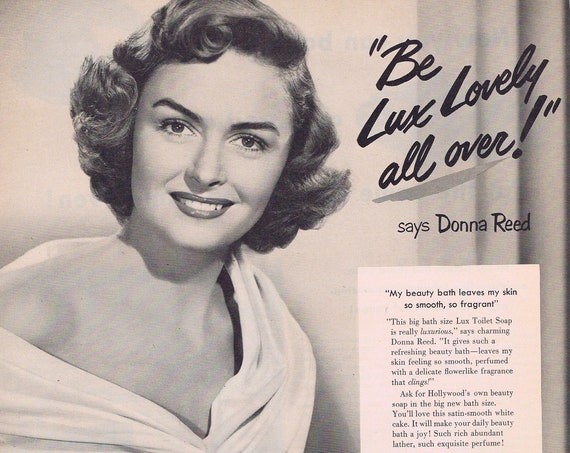 1951 Beautiful Donna Reed Lux Toilet Soap or Frigidaire Electric Ranges Original Vintage Advertisement
