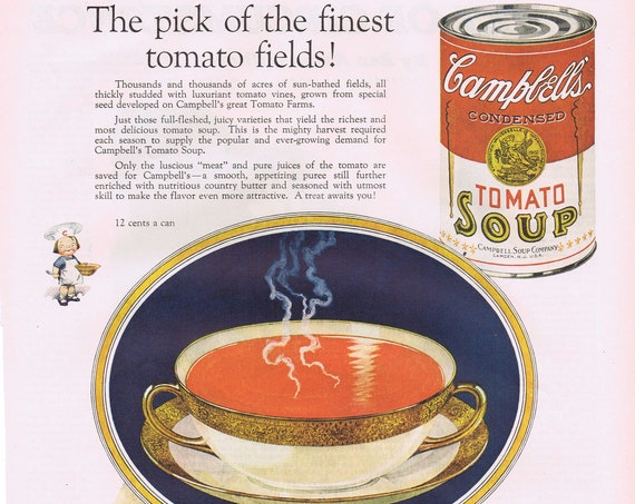 Campbell's Soup Old 1927 Advertisement with Tomato Field Picking Art