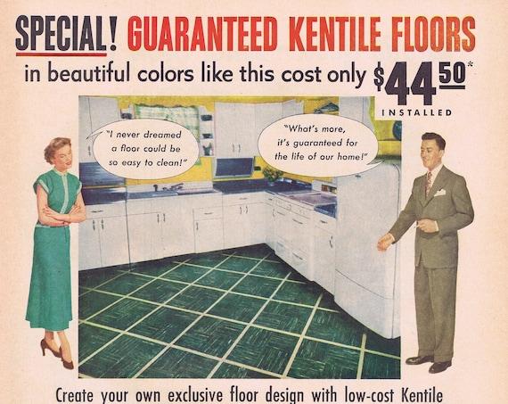 1949 Kentile Beautiful Kitchen and House Floors or A&P Super Markets and Porterhouse Steak Original Vintage Advertisement
