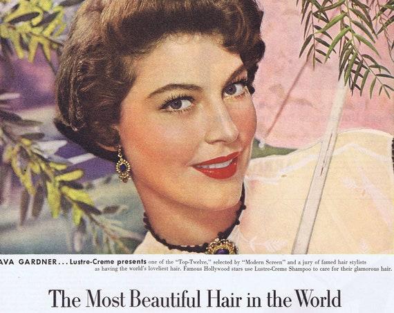 1951 Beautiful Ava Gardner Lustre-Crème Shampoo Starring in Show Boat Film Original Vintage Advertisement