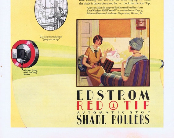 1925 Edstrom Red Tip Automatic Stop Shade Rollers or Louis XVI Karpen Furniture Original Vintage Advertisement