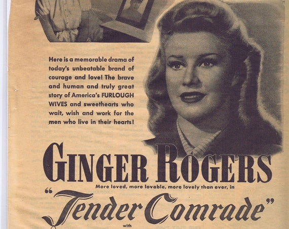WW2 Ginger Rogers and Robert Ryan 1943 Movie Ad Tender Comrade