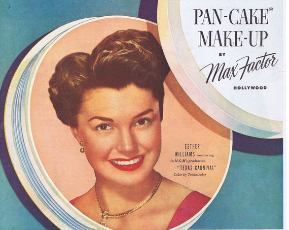 Beautiful Esther Williams and Max Factor Pan-Cake Make-Up 1951 Large Original Vintage Advertisement