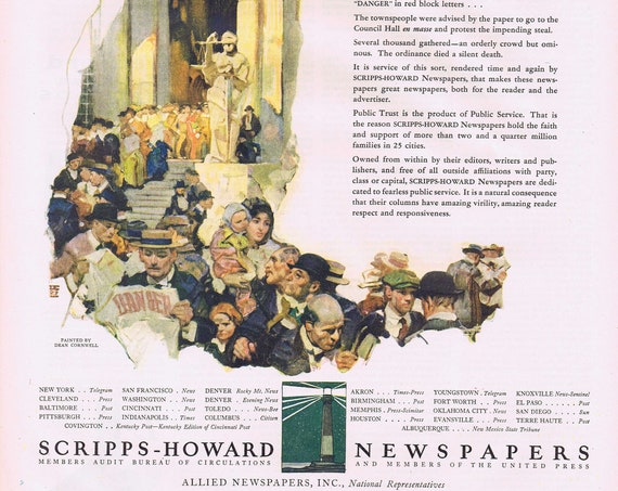 Scripps-Howard Newspapers Old 1927 Ad with Dean Cornwell Vintage Artwork