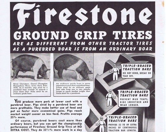 1940 Firestone Ground Grip Tires or Prince Albert Smoking Tobacco Original Vintage Advertisement