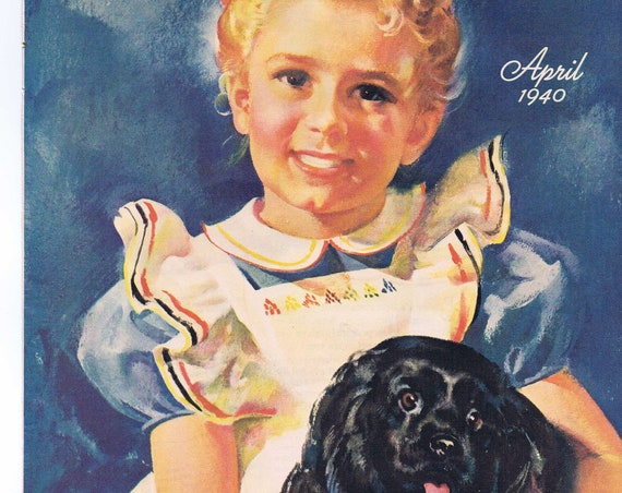 1940 Wonderful Farm Girl and Dog Art Drawing by William Rose with Bonus Drawing Free Shipping