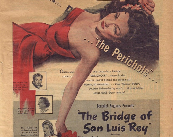 The Bridge of San Luis Rey 1944 Original Movie Ad with Lynn Bari