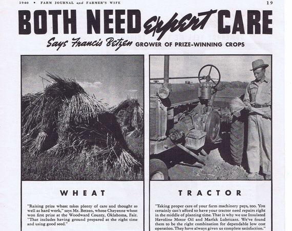 1940 Havoline Motor Oil and Marfak Lubricants on the Farm or Certain-Teed Building Products Original Vintage Advertisement