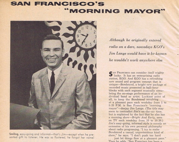 Jim Lange Before The Dating Game and San Francisco KGO Bandstand 1960 Vintage Feature Story with Pictures