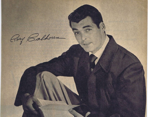 Rory Calhoun 1950s Magazine Photo and Autograph Copy in Nice Pose