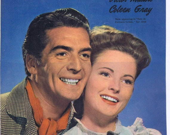 1948 Fury at Furnace Creek Stars Victor Mature and Coleen Gray Color Magazine Photo in Nice Costume Pose