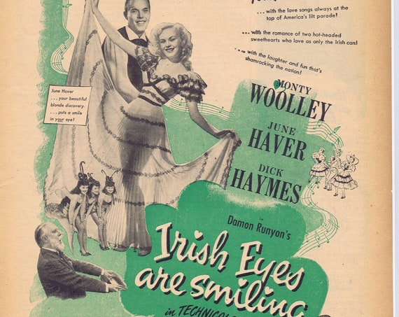 Irish Eyes are Smiling 1944 Original Movie Advertisement with Monty Woolley and June Haver
