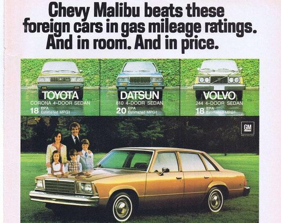 1980 Chevy Malibu Automobile Original Advertisement with Family and Gas Savings