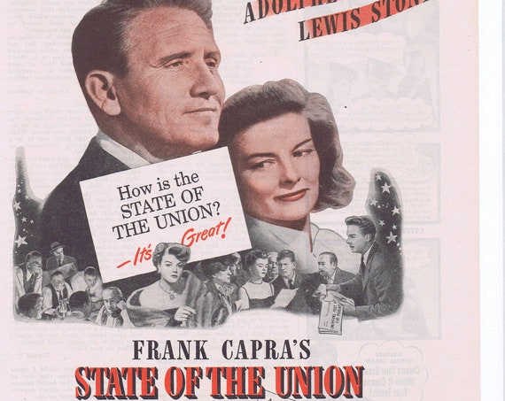 Frank Capra's State of the Union 1948 Original Movie Advertisement with Spencer Tracy and Katharine Hepburn