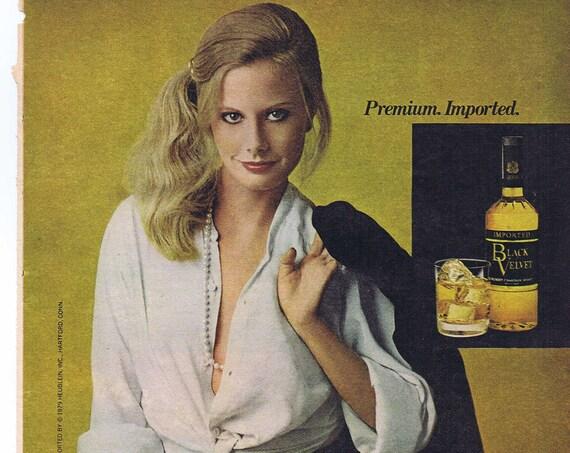 Black Velvet Blended Whiskey or Triumph TR7 Convertible 1979 Old Ad