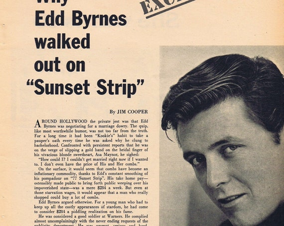 Edd Byrnes Why I Walked Out on 77 Sunset Strip 1963 Pictures and Feature Story