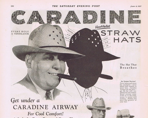 Campfire Marshmallows or Caradine Straw Hats Old 1927 Advertisement