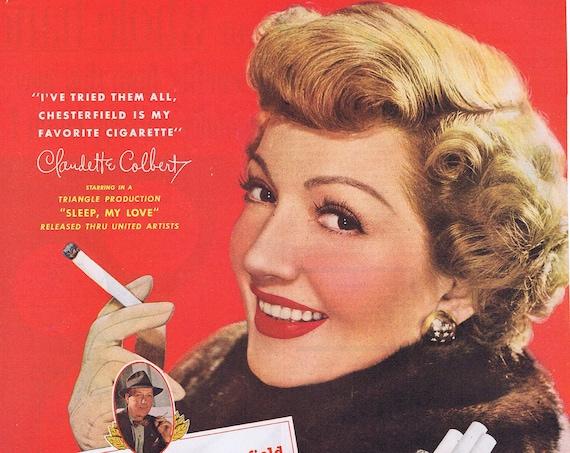 1948 Claudette Colbert Chesterfield Cigarettes Original Vintage Advertisement